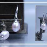 Perlenohrhänger mit Bluetenfassung 925 Silber rhodiniert, Süßwasserperlen