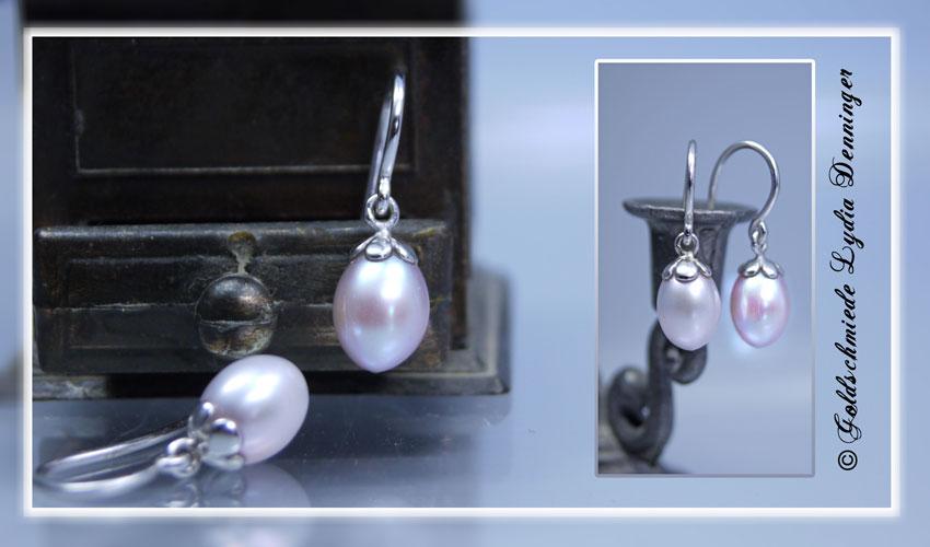 Perlenohrhänger mit Blütenfassung