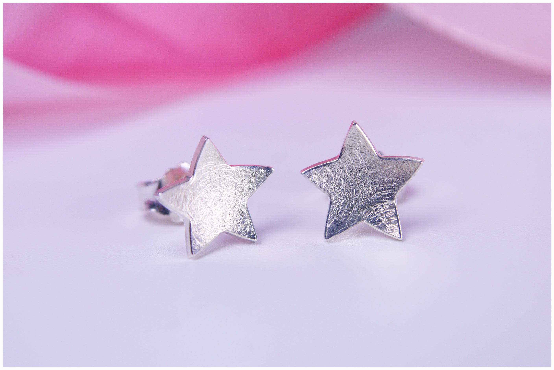 Ohrstecker Sterne konkav 935/- Silber