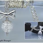 Kette mit auswechelbarer Perle, Erbskette und Silberschleife, 925 Silber