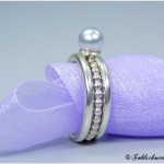 Ringvariation mit echter Akoyaperle 925/- Silber mit glatten Zusteckringe
