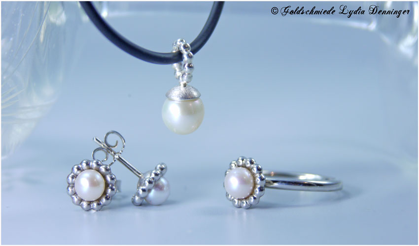 Schmuckset Silber und Perlen
