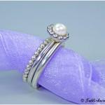 Ringvariation Perlschalenring und Zusteckringe 925/- Silber