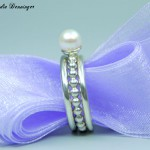 Ringvariation 925/- Silber mit Perldrahtring mit Süßwasserperle und zwei glatten Zusteckringen