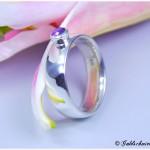 Ring 925/- Silber massiv mit Amethyst und konischer Fassung
