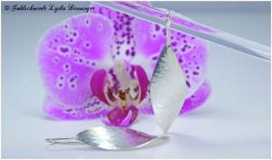Ohrhänger Walzstrucktur in Blätterform 925/- Silber