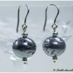 Ohrhänger 925/- Silber mit Lavakugel silber beschichtet