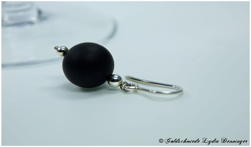 Ohrhänger 925/- Silber mit Lavakugel schwarz matt