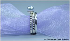 Perlenringvariation 925/- Silber mit Akoyaperle