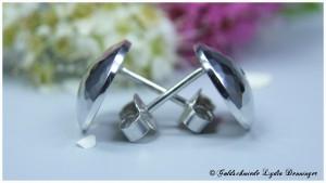 Plättchenohrstecker gehämmert mit Zirkonika 925/- Silber