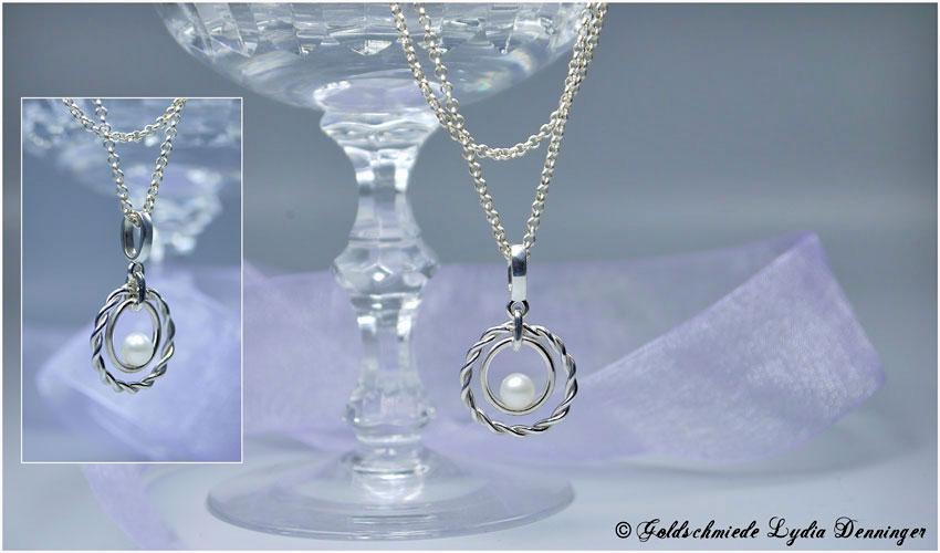 Silberkette mit Silberdrahranhänger und Süßwasserperle