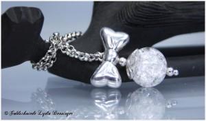 Schleifenanhänger 925/- Silber mit Bergkristallkugel, zerlegbar, Kugel kann immer wieder ausgetauscht werden