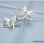 Seerosen-Ohrhänger 925 Silber mit echten Aquamarin