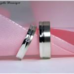 Eheringe 925/- Silber, gerader Fuge und Princess-Cut Diamant