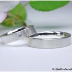 Eheringe 925/- Silber mattiert mit Princess-Cut-Diamant