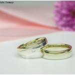 Eheringe 585/- Weiß- und Gelbgold mit Princess-Cut-Diamant