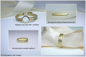 Sternenring 585/- Gelbgold und 9 Brillanten in verschiedenen Größen aus Altgold geschmiedet