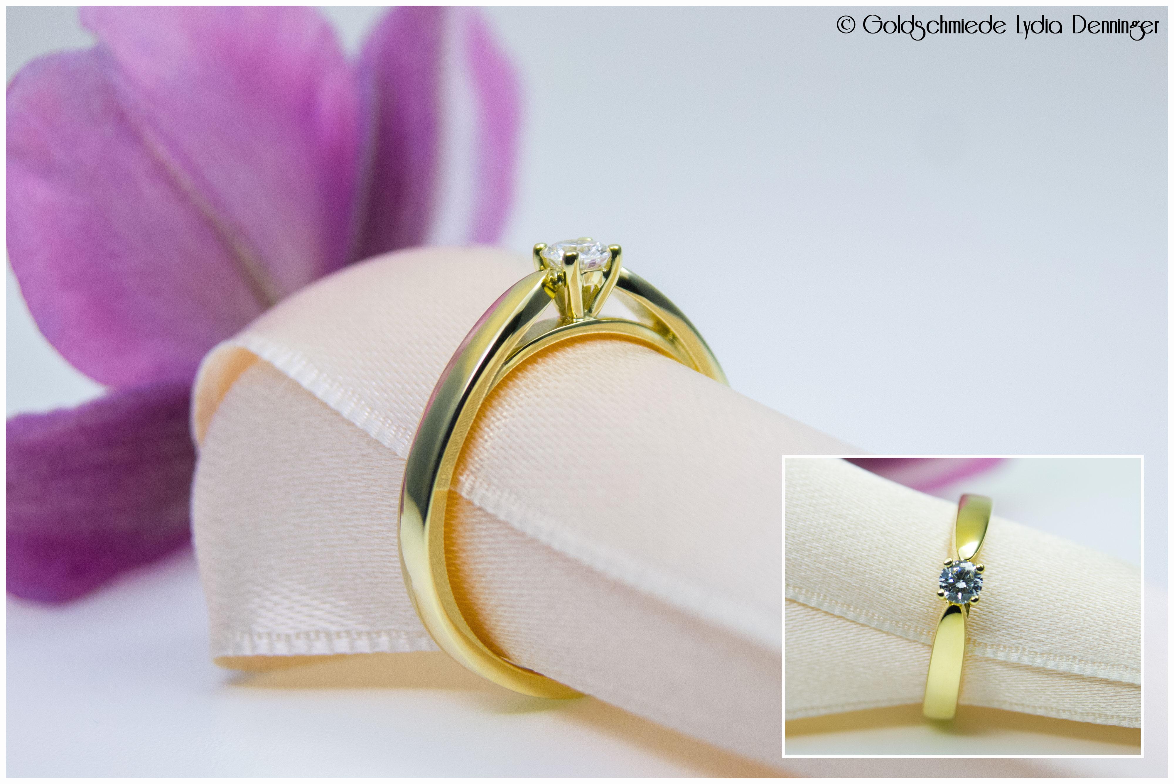 Verlobungsring 585/- Gelbgold mit 3,4 mm Brillanten 0,14ct