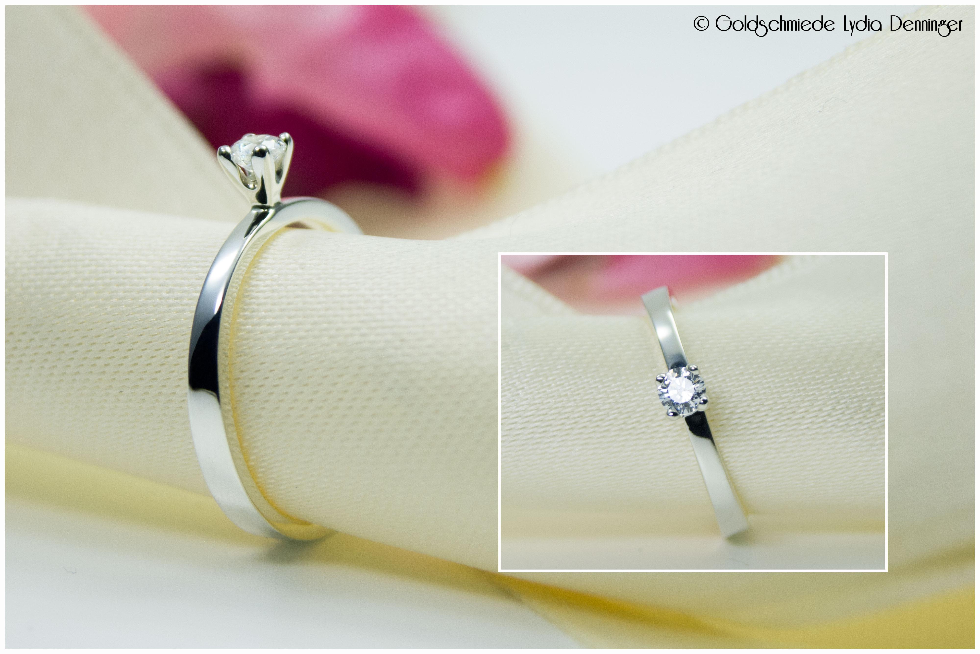 Verlobungsring 925/- Silber mit Bergkristall