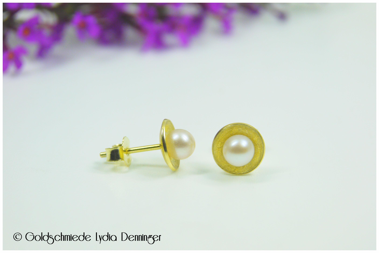 Ohrstecker konkav mit Perlen 585/- Gelbgold