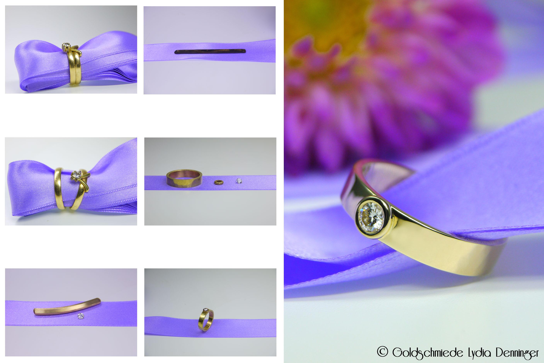 Alter Ehering wurde umgearbeitet. Der Brillant und das Altmetall wurden verwendet. Ein neuer Ring der in seiner schlichten Form modern ist und viel Eleganz zeigt.