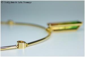 Kugelgelenk für Collier 750/- Rosegold mit Fassung für Turmalin