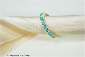 Verlobungsring 925/- Silber mit 7 Brillanten und 6 Türkis Edelsteinen cabochon Schliff