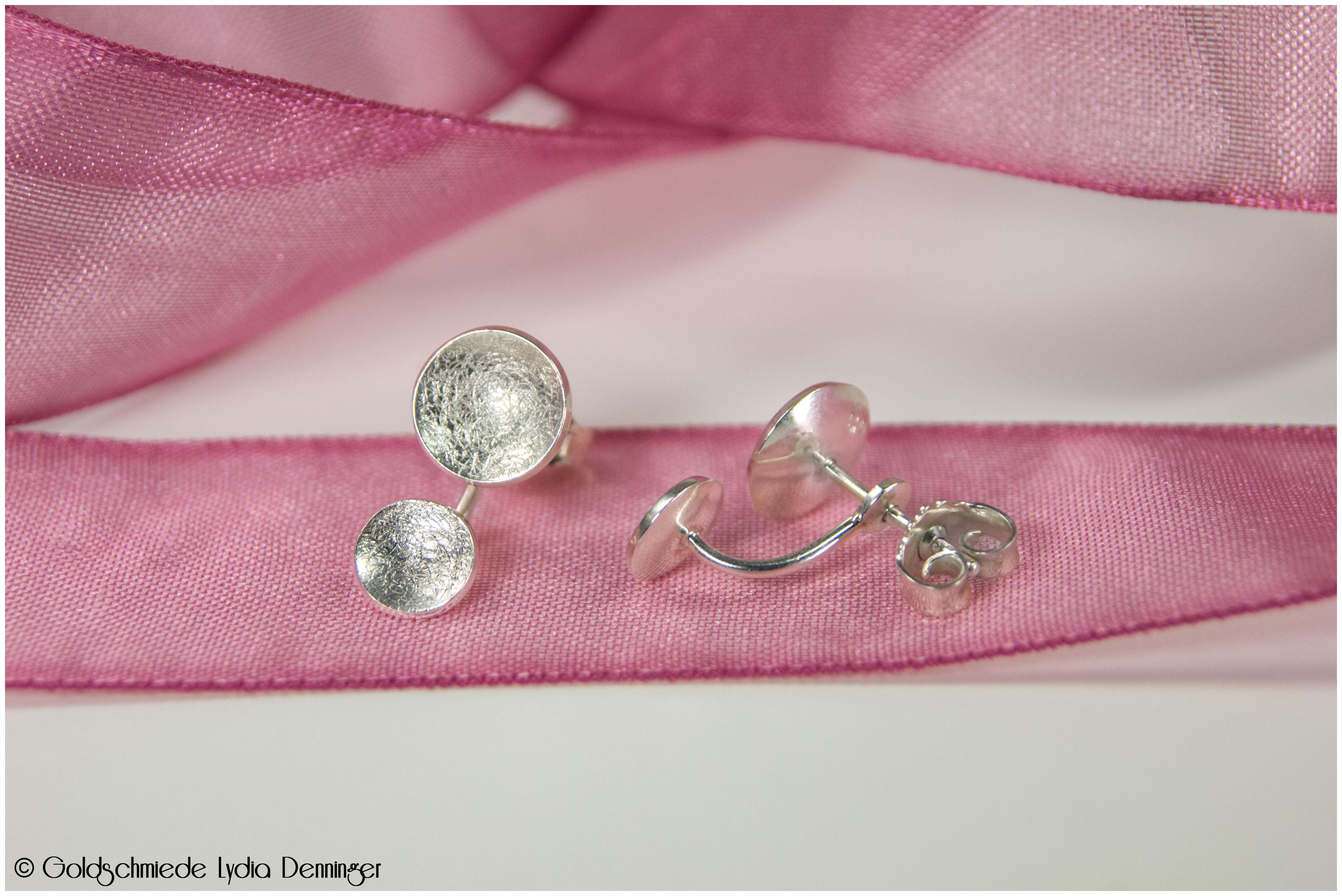 Duplex-Ohrstecker 925/- Silber konkav geschmiedet