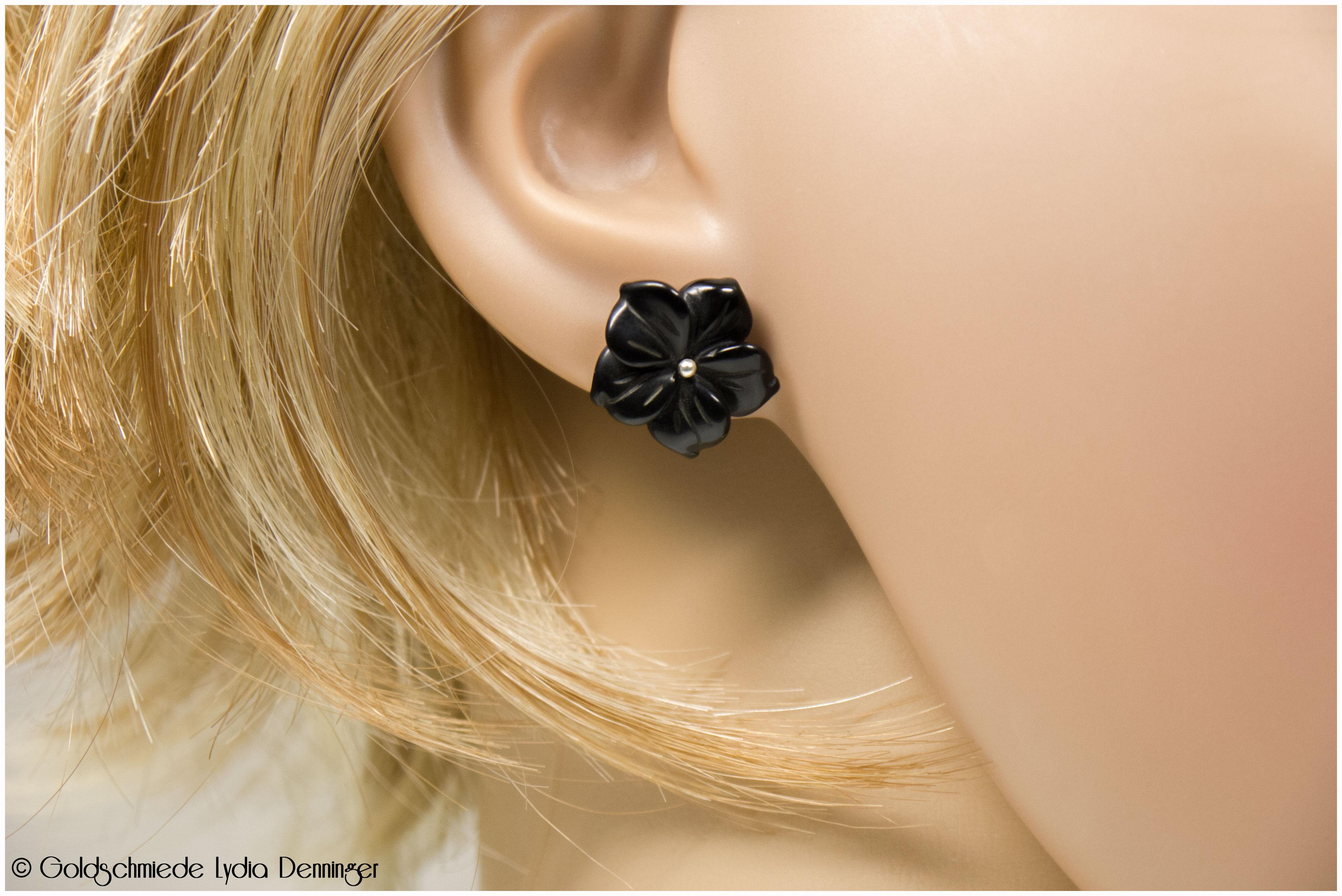 Ohrstecker 925/- Silber mit Blume aus Onyx