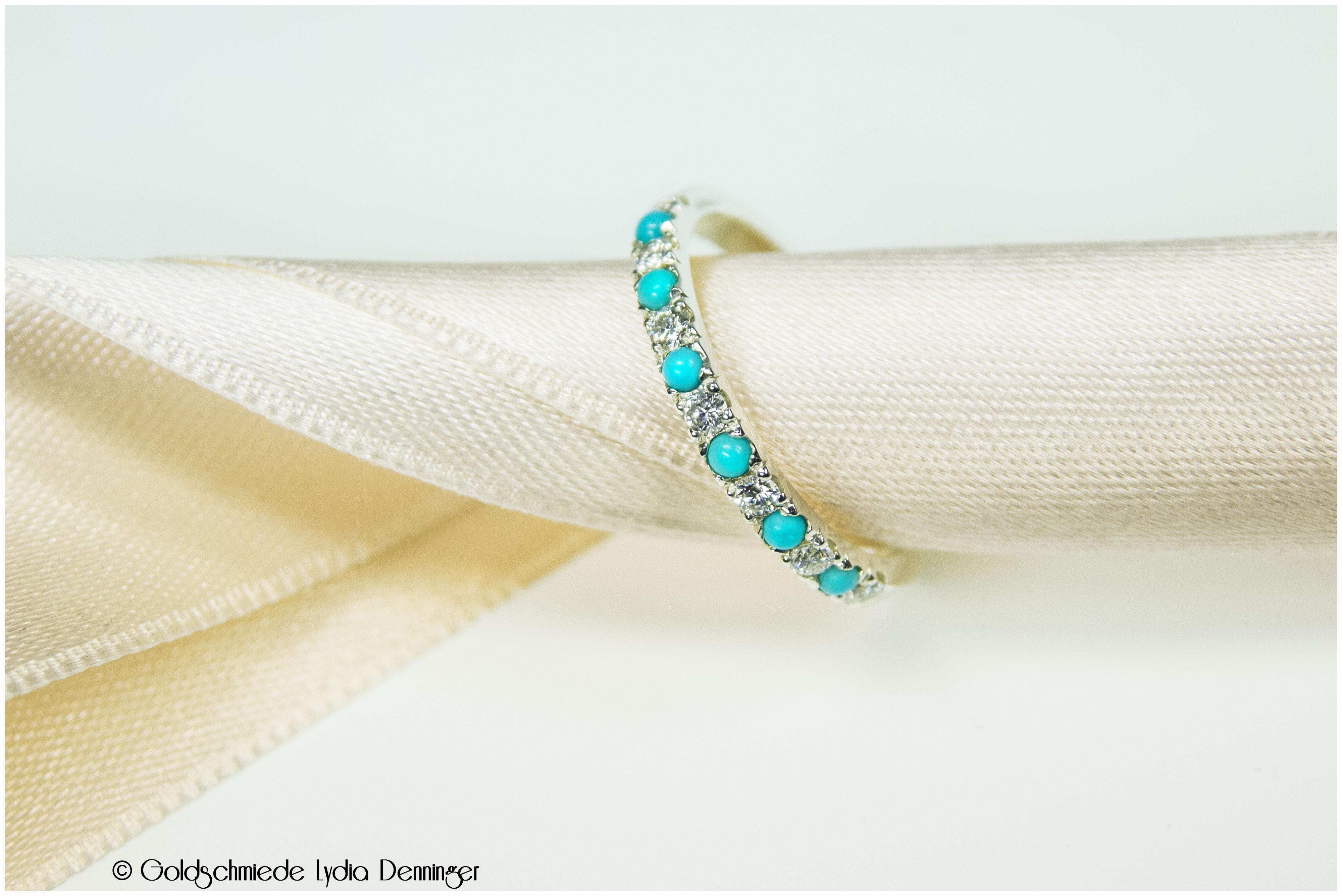 Verlobungsring 585/- Weißgold mit Türkisen und Brillanten