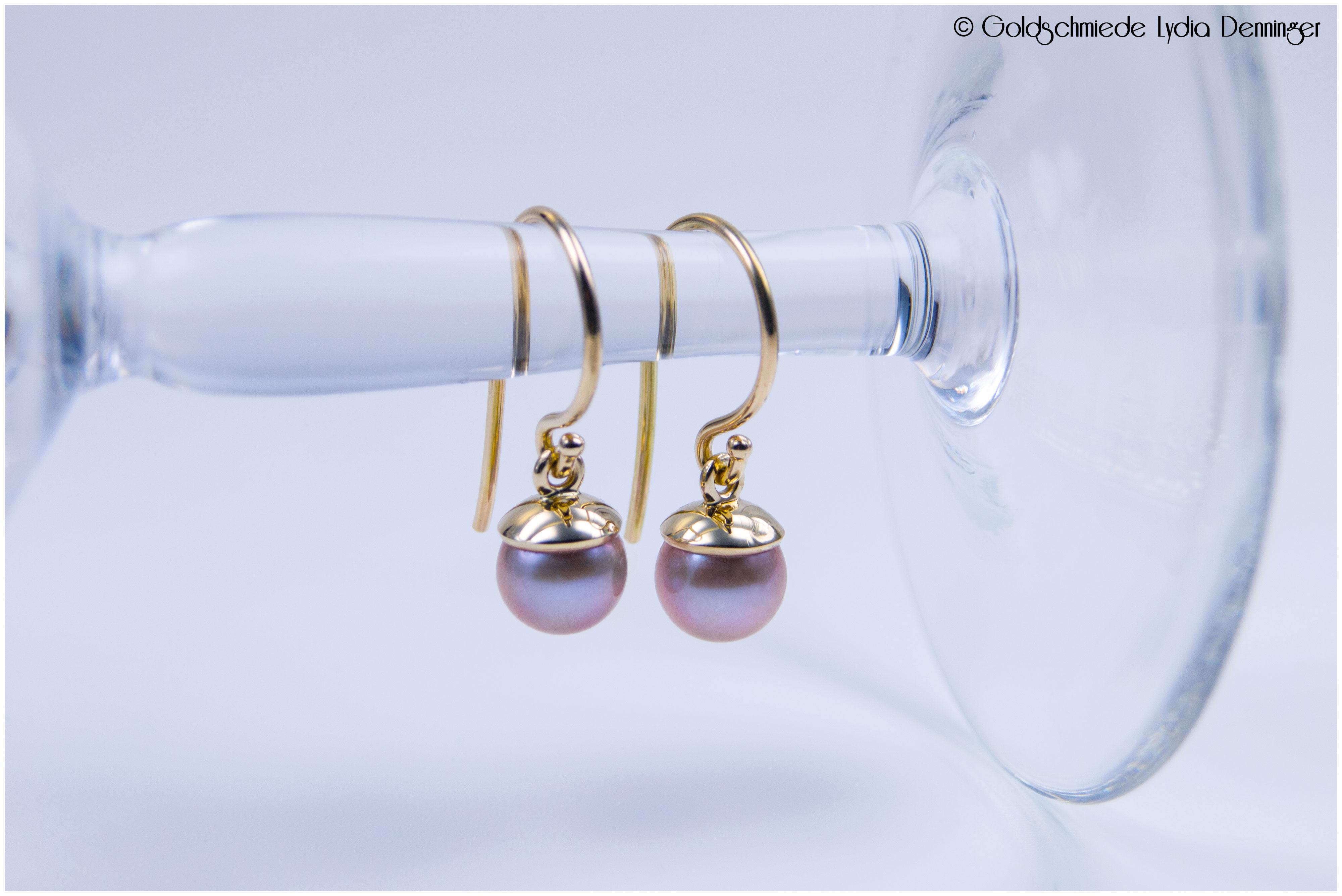 Ohrhänger 585/- Gelbgold mit echten rosè Süßwasserperlen