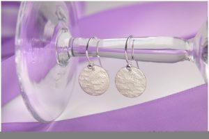 Ohrhänger 925/- Silber Walzstruktur rund