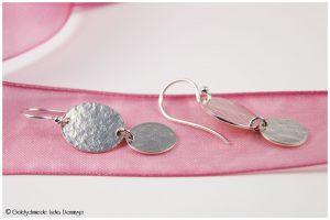 Ohrhänger 925/- Silber Walzstruktur oval mit Anhänger