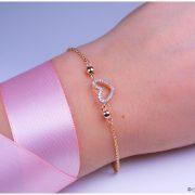 Herz Armband mit Zirkonia 925/ silber rosé vergoldet