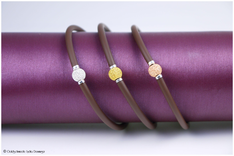 Kautschuk Armband 925/- Silber mit diamantierter Silberperle