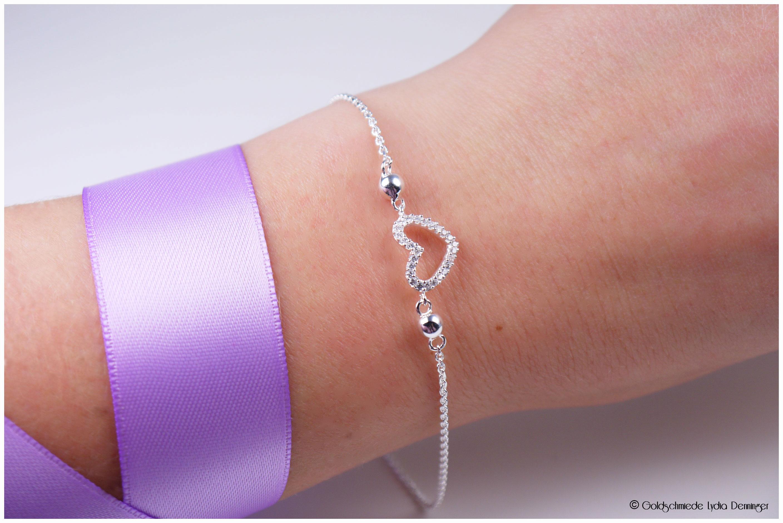 Herz Armband mit Zirkonia 925/- Silber