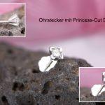 Ohrstecker 925/- Silber Princess Cut Diamant 2,5 mm und Ohrmutter zum Schrauben