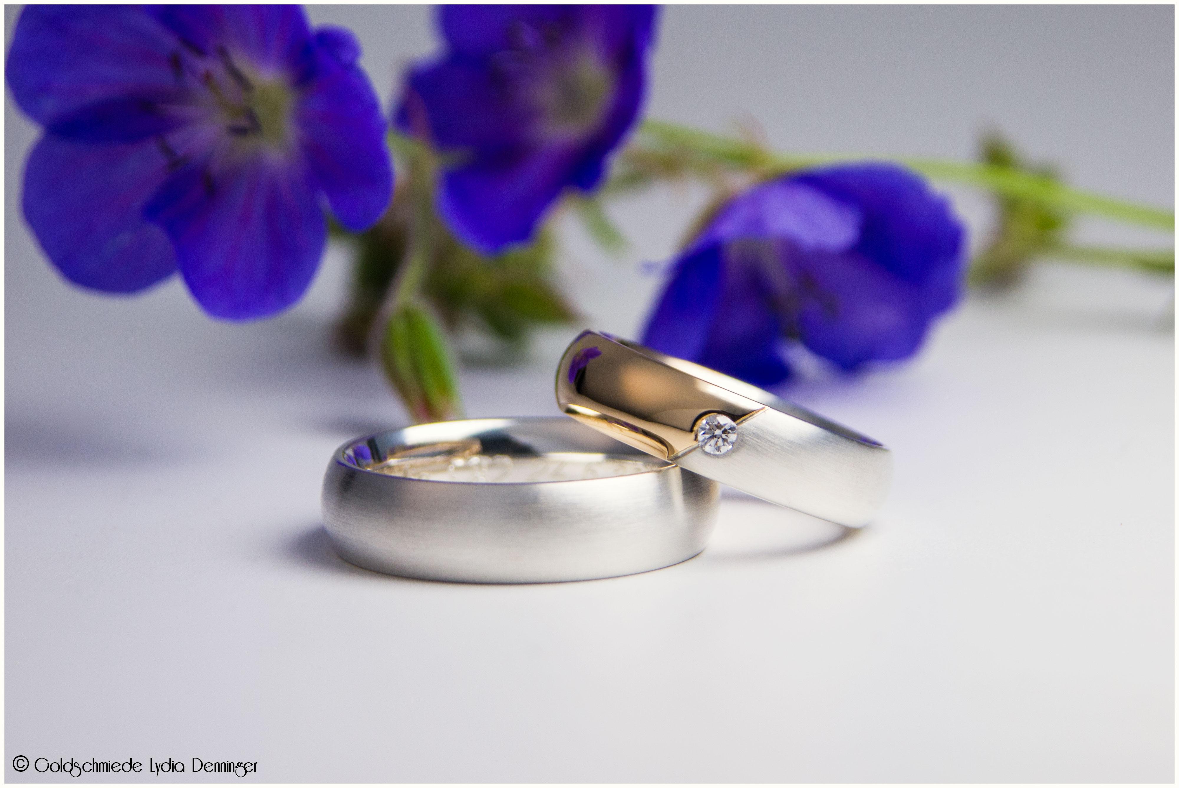 Eheringe bombiert Damenring 750/- Roségold kombiniert mit 925/- Silber und Brillant / Herrenring 925/- Silber