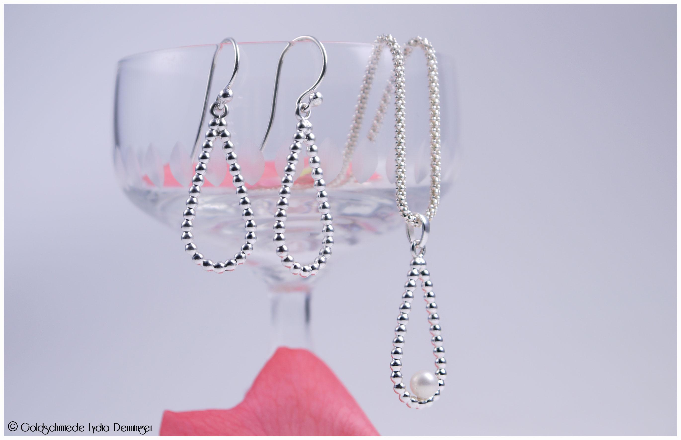 Tropfen Ohrhänger 2.0 in 925/- Silber / Set mit Anhänger