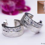 Creolen 925/- Silber mattiert und mit je 6 Brillanten gefasst