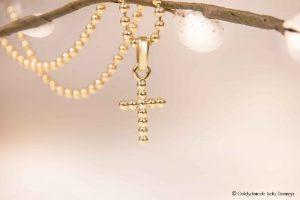 Kugelkette mit Kugelkreuz 585/- Gelbgold